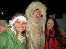 Hillary, Shaun White in his friends coyote jacket and Lauren